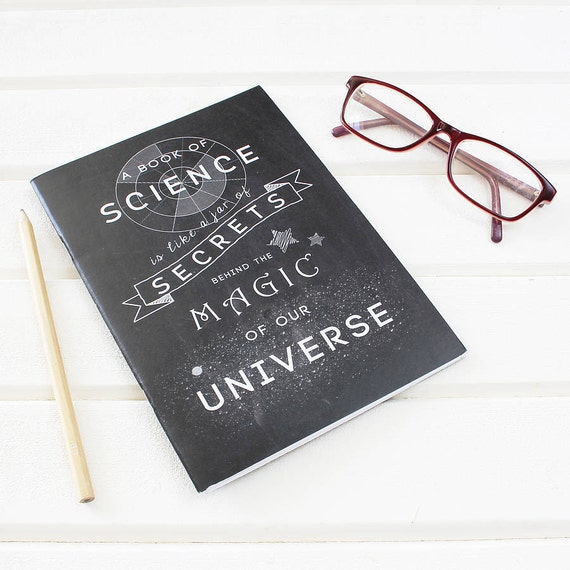 Science Design For Notebook: SCIENCE MAGIC NOTEBOOK Science Chalkboard Typography Plain