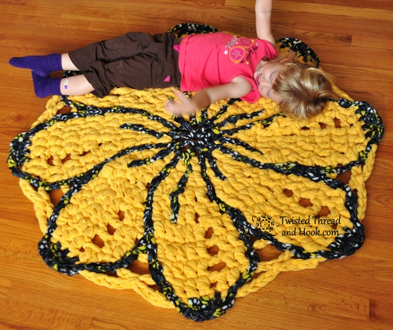 Sunshine Flower Rug - Yellow Nursery Rug - Flower Room Decor - Handmade to Order