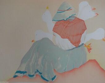 """Charlotte Reine """"J' Ai Des Oies"""" Original Lithograph(1981)"""