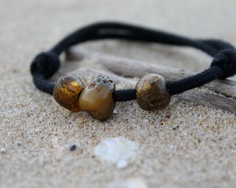 Surf Bracelet Men Baltic Amber Friendship Bracelet Natural Fashion Organic Dude Jewelry Fossil Sunny Gift for him Boy Dad Eco Friendly