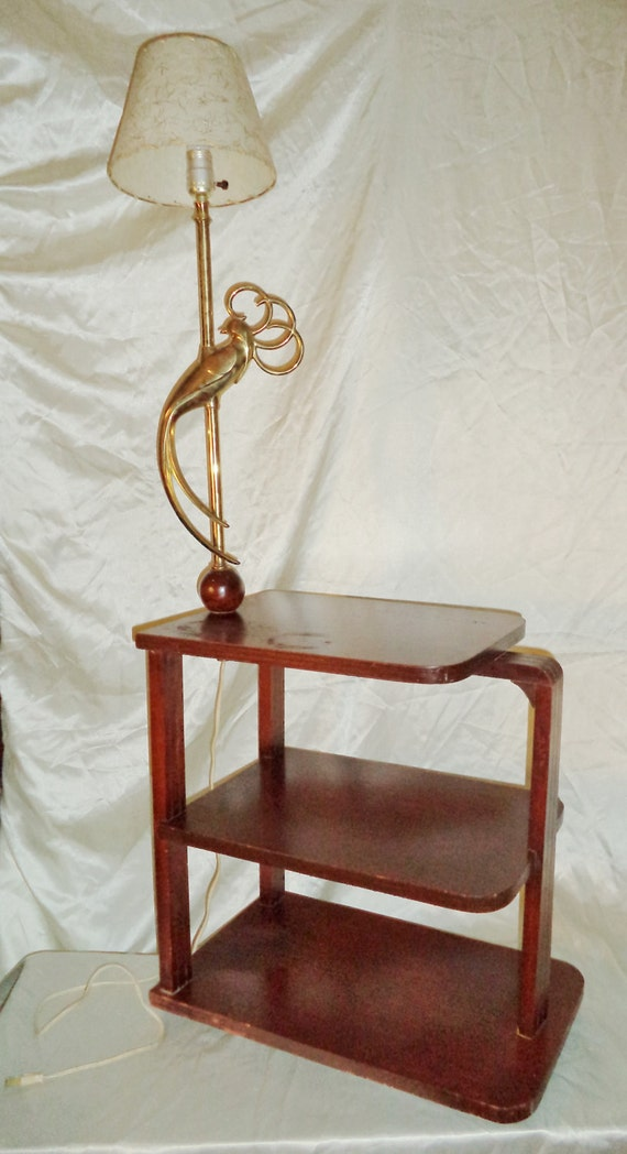 end table w attached rembrandt brass bird of paradise electric lamp. Black Bedroom Furniture Sets. Home Design Ideas