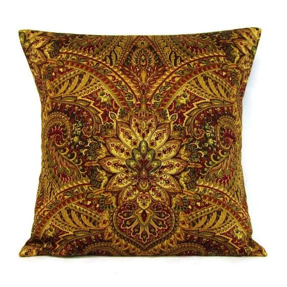 Gold Burgundy Damask Pillow Cover Decorative Throw 16x16 18x18