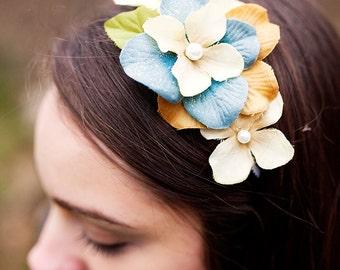 Lace Flower Headband Ivory White Blue Pearl