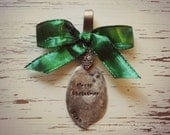 Merry Christmas 2013 spoon ornament - green  - silver plated - antique - vintage jam spreader