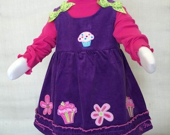 """Corduroy Jumper Set """"How fun to be 1"""" Birthday Outfit - 18 MO - D181"""