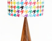 Black Wanut Table Lamp - Mid Century Inspired - Happy Houndstooth Shade