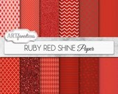 """Red digital papers """"RUBY RED SHINE"""" ruby red papers with red quatrefoil, chevron, polka dots, diamonds, harlequin, red hearts, red glitter"""