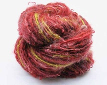 Handspun and Dyed Singles from Locks of Kid Mohair and Teeswater In Shades of Red with Chartreuse