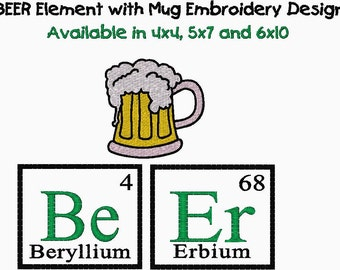 BEER Mug and Periodic Element Embroidery Design