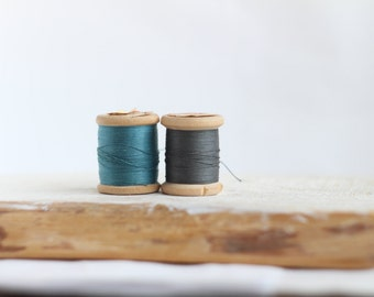 Soviet Vintage Thread Spools - set of 2 - Blue-Grey