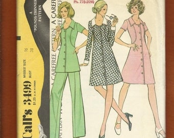Vintage 1973 McCalls 3499 Slimming Seaming Detail Front Button Dress or Tunic to Make you Look Pounds Thinner Size 16 UNCUT