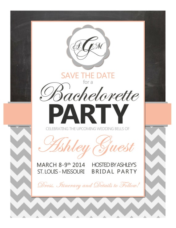 items similar to customizable modern monogrammed bachelorette party