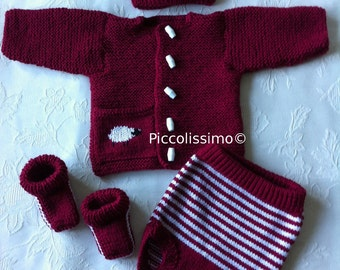 """knitting pattern  for a 20""""/ newborn maroon sweater set with sheep reborn baby ooak"""