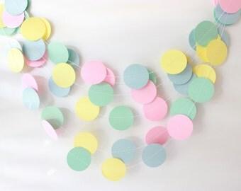 Pastel Garland, Easter Decor, Pink Baby Shower Garland, Newborn Photo Prop, Paper Garland, Girl Nursery Decor, Gender Neutral Baby Shower