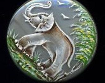 Hand painted Czech glass button gray elephant - size 12, 27 mm FCB 1003