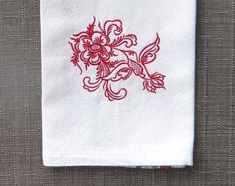 Rosemaling Humming Bird Cotton Kitchen Dish Towel