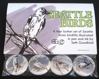 Pacific Northwest Bird Button Set