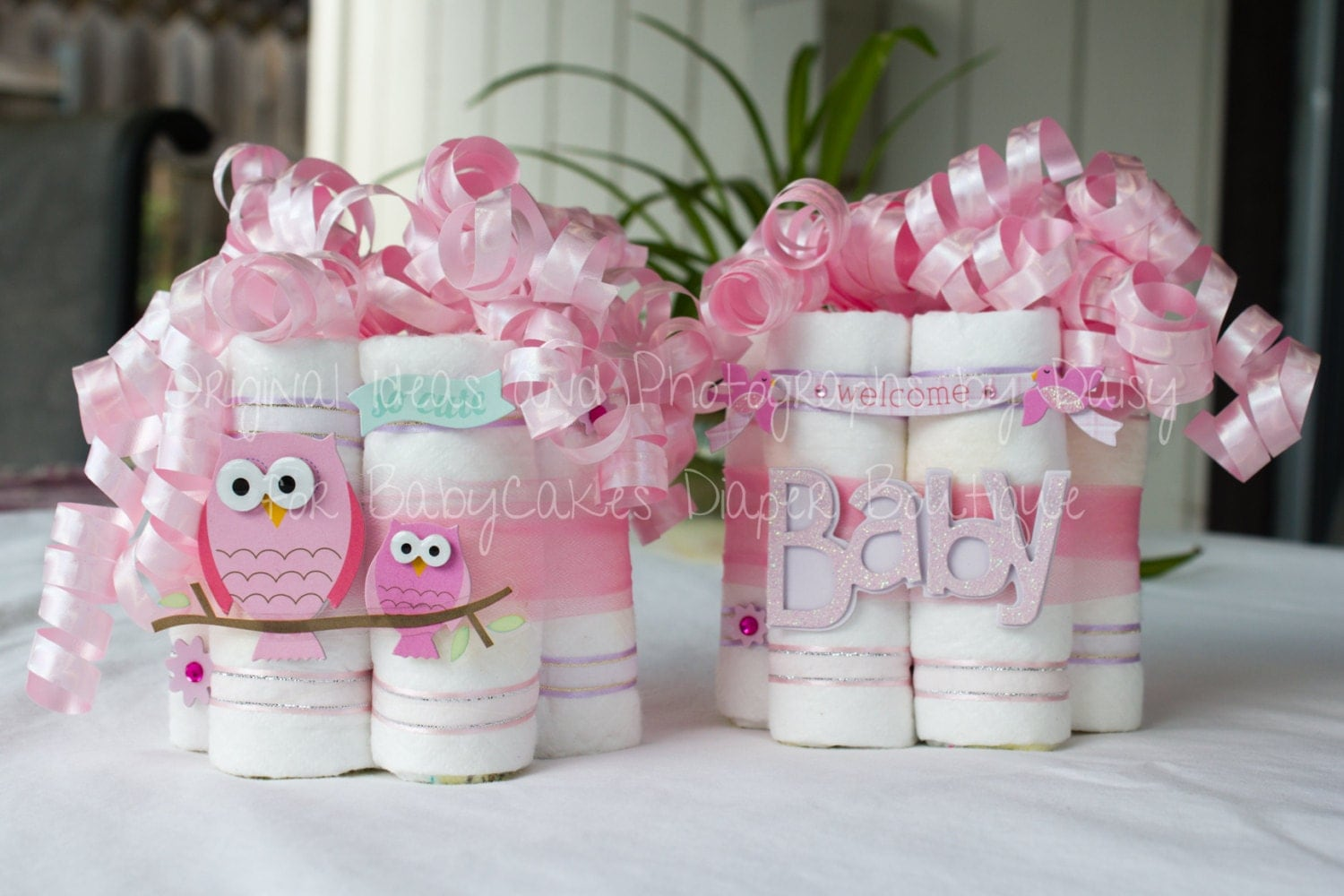 owl baby shower centerpiece pair by babycakesbydaisy on etsy