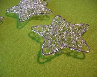 3 stars, wire, 5 cm, silver (129)