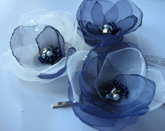 Navy blue hair flower Navy blue hair clips Navy blue hair pins Navy blue wedding Navy flower Navy ivory hair flower Navy blue wedding pins