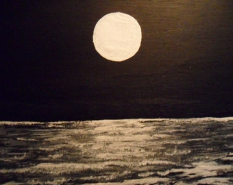 """Full Moon over the Ocean, black and white painting. """"The Inlet"""". Done in acrylic on wood. Original."""