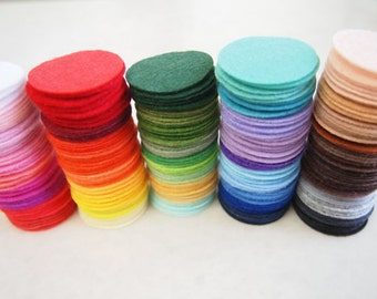 Set of 300pcs Round Felt Circles Shapes 2-4cm mixed colors-BY0078