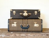 Old Woven Suitcase Luggage Storage - Blue Tan Brown