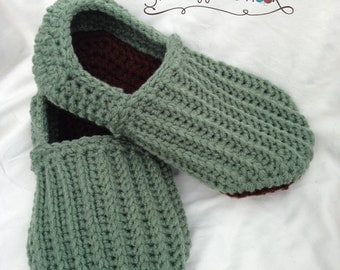 Crochet mens slippers house shoes Sizes 8 - 13 custom made to order