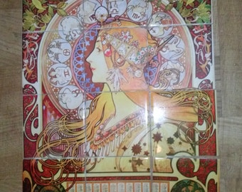 Decorative tiles etsy for Art nouveau tile mural