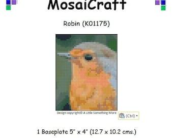 MosaiCraft Pixel Craft Mosaic Art Kit 'Robin' (Like Mini Mosaic and Paint by Numbers)