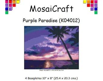 MosaiCraft Pixel Craft Mosaic Art Kit 'Purple Paradise' (Like Mini Mosaic and Paint by Numbers)