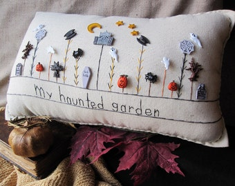 My Haunted Garden Pillow (Cottage Style)