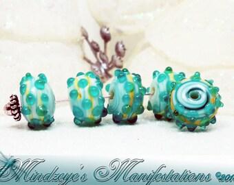 8 Handmade Lampwork Rondelle Beads 17.5x10mm
