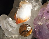 Citrine and TIger's Eye Wire Wrapped Crystal Pendulum