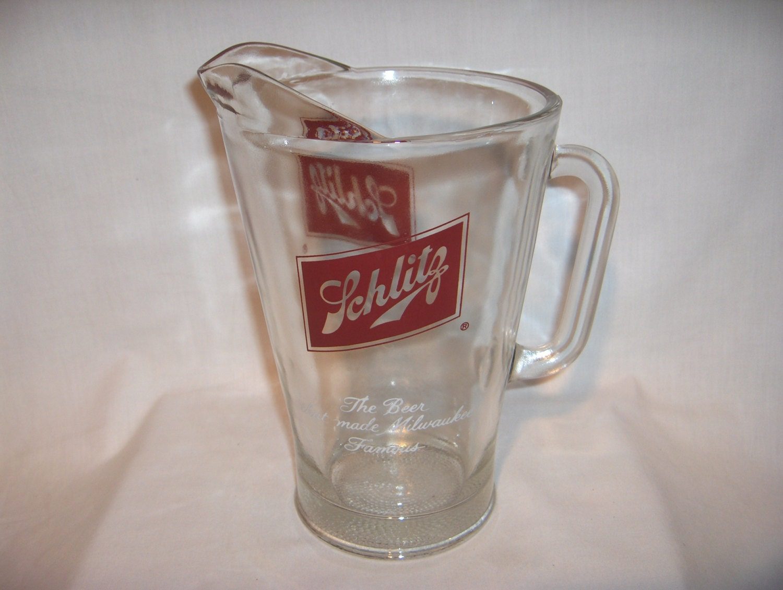 schlitz beer pitcher heavy glass milwaukee. Black Bedroom Furniture Sets. Home Design Ideas
