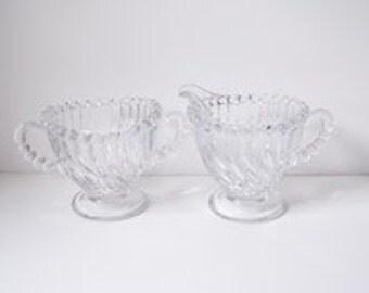 Vintage Glass Hobnail Swirl Cream and Sugar Set / Serving Set