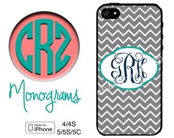 iPhone 6 Case - Monogram iPhone 5S Case - Grey Chevron and Teal Monogrammed iPhone 4 Case - iPhone 5 or iPhone 5S Case