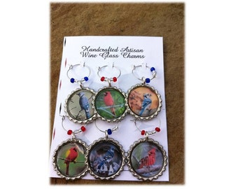 Beautiful Bluejay and Cardinal Wine Glass Charms