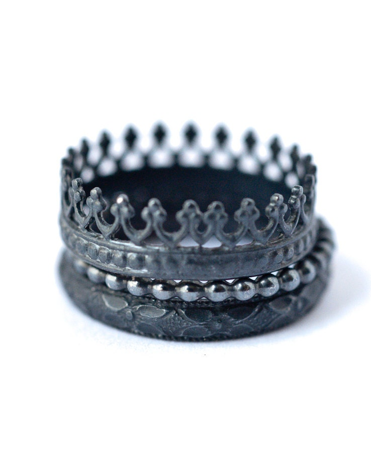 stackable metalsmithing rings set 3 oxidized silver rings