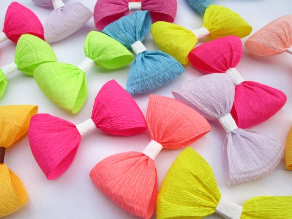 12 paper bows crepe paper bows birthday decoration wedding - Birthday decorations with crepe paper ...
