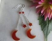 Moon & Star earrings, Hand carved agate earrings, Agate earrings, Sterling silver earrings, Stone earrings, Carnelian earrings