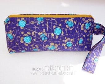 Zippered Wristlet in Retro Purple/Turquoise Fabric, Gold Zipper OOAK
