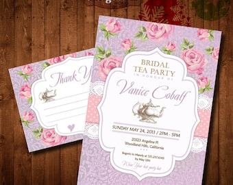 Lilac Pink Shabby chic Bridal Tea Party Invitation. DIY card. Roses