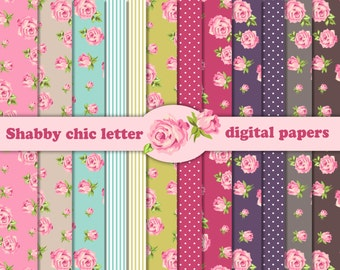 12 Shabby Chic Rose Digital Scrapbook Papers 8,5x11 inch for invites, letters, card making.