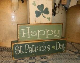 Happy St. Patrick's Day 2 primitive Block sign Shamrocks