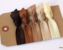 Brown Ombre elastic ribbon hair ties-set of 5, hair accessories, stretchy ribbon, headbands, everyday basic, non damaging, soft hair tirs