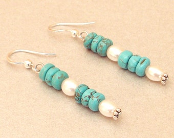 Silver Earring Pearl turquoise