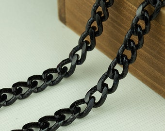 3.2ft Black Chain, Twisted Textured  Curb Chain, 17x11.8mm, Anodized Aluminum Chain, Open Link Chain, 03FD.BK