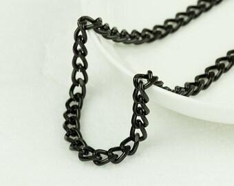 20ft Black Curb Chain, Aluminum Twisted Curb Chain, Open Link Chain, 8.2x6.0mm, 0644.BK