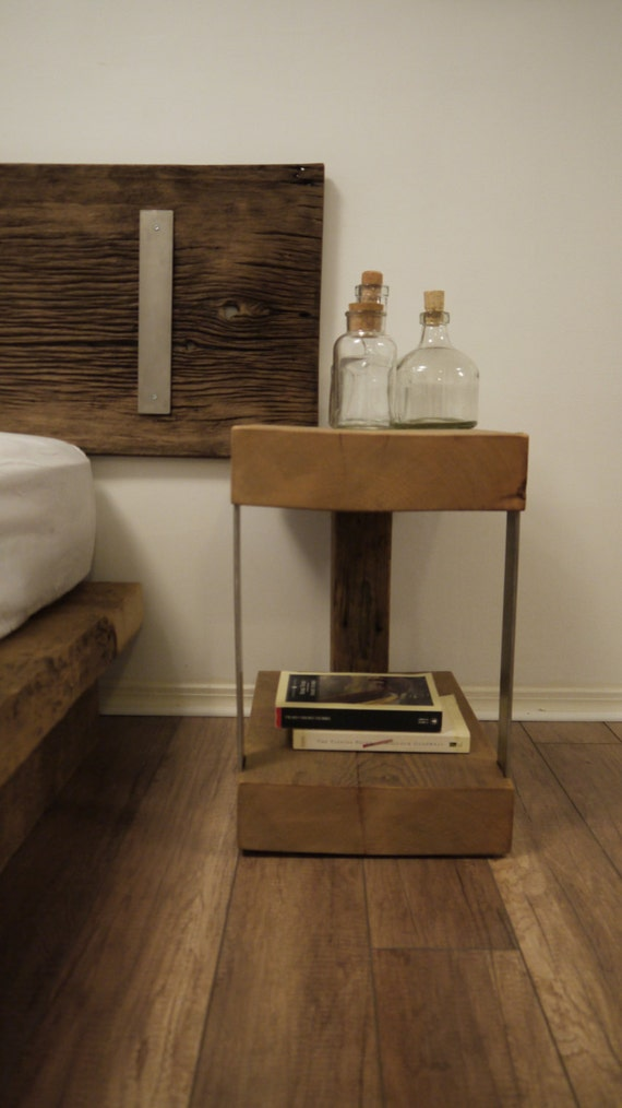 Wood And Metal Bedside Table: Night Stand. Reclaimed Wood And Metal Bedside Table. Modern